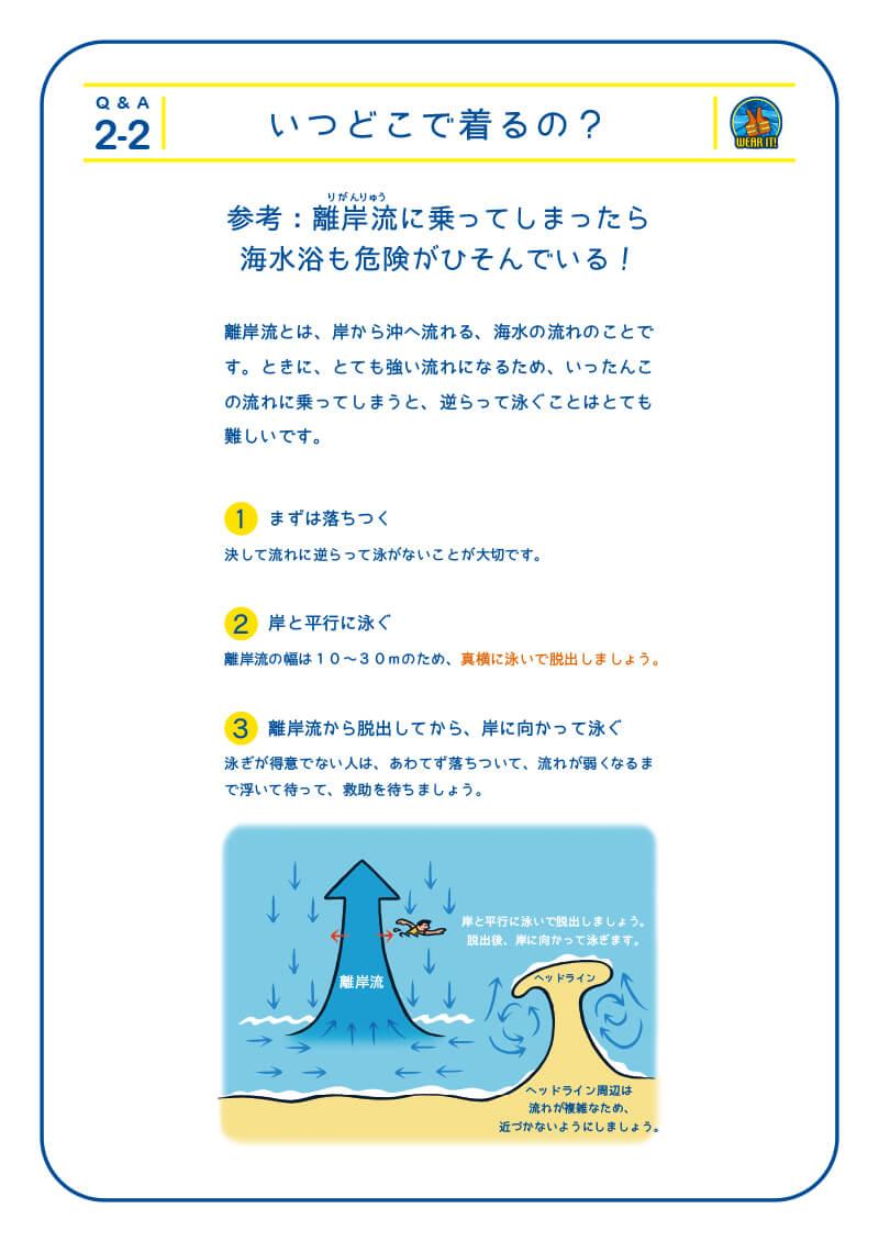 2-2 いつどこで着るの?参考:離岸流に乗ってしまったら海水浴も危険がひそんでいる!岸流とは、岸から沖へ流れる、海水の流れのことで す。ときに、とても強い流れになるため、いったんこ の流れに乗ってしまうと、逆らって泳ぐことはとても 難しいです。1.まずは落ちつく 決して流れに逆らって泳がないことが大切です。2.岸と平行に泳ぐ 決して流れに逆らって泳がないことが大切です。3.離岸流から脱出してから、岸に向かって泳ぐ 泳ぎが得意でない人は、あわてず落ちついて、流れが弱くなるま で浮いて待って、救助を待ちましょう。離岸流の幅は10~30mのため、真横に泳いで脱出しましょう。ヘッドライン ヘッドライン周辺は流れが複雑なため、近づかないようにしましょう。